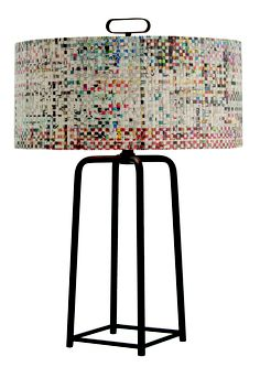 Griffith Lamp with woven recycled newsprint shade #arteriors #upcycling #repurposed
