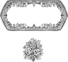 vintage border frame & rose ornament