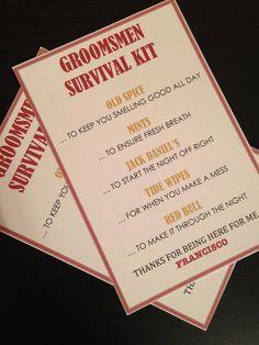 Groomsmen Survival Kit  5x7  Postcard  Hard by NiftyNeatThings, $1.00