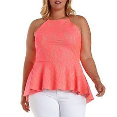 Peplum Hi Lo Tank Very chic! Great top for a date night! Hot pink lace over a nude lining! Perfect with skinny jeans and heels! New Never worn Charlotte Russe Tops Blouses