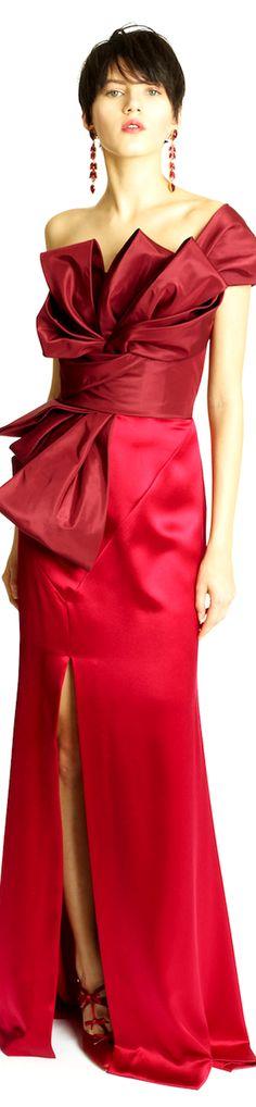 Oscar de la Renta Pre-Fall 2014   one-shoulder   wine red crepe evening gown with structured gazar drape   high fashion