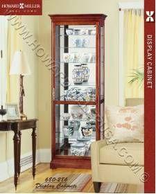 Hinged Locking Door Mirrored Display Cherry Curio Cabinet 680286 Howard Miller