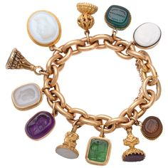 French Bracelet with Georgian and Victorian Intaglio Fobs | From a unique collection of vintage charm bracelets at https://www.1stdibs.com/jewelry/bracelets/charm-bracelets/