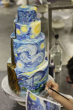 Starry Night wedding cake (This is the photo that sparked our idea for a Starry Night wedding.) We would actually prefer a small cake at a dessert table. Gorgeous Cakes, Amazing Cakes, Vincent Van Gogh, Fondant Cakes, Cupcake Cakes, Pink Camo Wedding, Starry Night Wedding, Starry Nights, Chocolates
