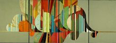 """confluence / 36 x 96"""" / acrylic + collage on 4 panels / 2007"""