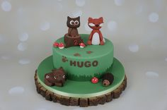 Forest animals cake, Owl, Fox, Deer, Hedgehog characters