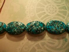 XL Blue Brecciated Flat Oval Turquoise Beads  by TheEiffelTeaRoom, $4.99