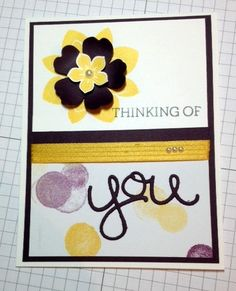 Card 2015-24 Stamp Sets: Crazy About You, Petite Petals Card Stock: Whisper White, Blackberry Bliss Ink Pads: Daffodil Delight, Basic Gray DSP: Moonlight Punches: Pansy, Petite Petal Thinlits: Hello You  Embellishments: Hello Honey ribbon, pearls