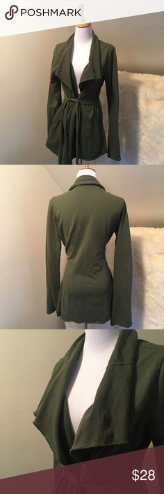 Lucky Brand Green Cotton Open Wrap Cardigan Comfortable army green open French terry cardigan by Lucky Brand. This is a nice cotton fabric. It has pockets and a belt that ties around. Can be paired with many different casual outfits. Raw edged. Great Condition. Bundles encouraged! Lucky Brand Sweaters Cardigans