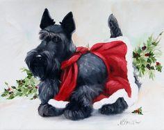 PRINT Black Scottish Terrier Scottie Dog Art Oil Painting Christmas / Mary Sparrow Smith. $29,95, via Etsy.