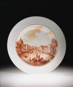 "1741 Italian (Venice) Plate at the Victoria and Albert Museum, London - From the curators' comments: ""The plate is from a set of 24 that were specially commissioned by Horace Walpole from a Venice glasshouse as a souvenir of his visit in 1741. The plates, each of which was painted with a different view of Venice, were almost certainly never used, but were intended for display. By 1774 they displayed in Walpole's China Room at his villa at Strawberry Hill (near Twickenham west of London)."""