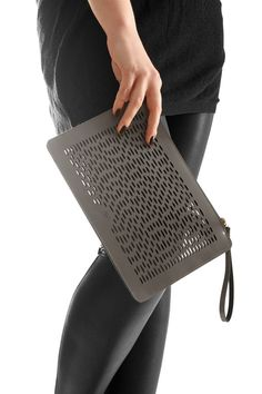 gray brovn leather handbag, woman leather bag, clutch bag, wristlet with laser-cut pattern