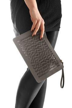 gray brovn leather handbag, woman leather bag, clutch bag, wristlet with laser-cut pattern