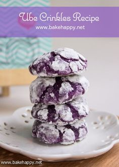 Easy to Make Ube Crinkles Recipe - Bake Happy. Need to source ube jam and mcormick ube flavoring. Crinkle Cookies, Galletas Crinkle, Jam Cookies, Pinoy Dessert, Filipino Desserts, Filipino Recipes, Filipino Food, Filipino Dishes, Pinoy Food