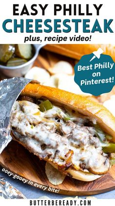 Steak Recipes, Grilling Recipes, Crockpot Recipes, Cooking Recipes, Homemade Philly Cheesesteak, Cheesesteak Recipe, Kinds Of Steak, Cheese Steaks, Provolone Cheese