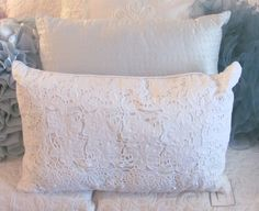 Sold.  LARGE WHITE CUTWORK PILLOW Shabby vintage Cottage chic BED sofa romantic lace Rose Cottage, Cottage Chic, Romantic Lace, Bed Sofa, Shabby Vintage, Cutwork, Large White, Throw Pillows, Store