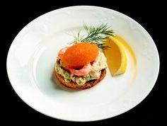 Toast Skagen - Swedish seafood & roe topped sauteed toast