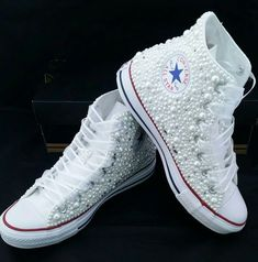 Pearls & Bling- Bridal Custom Converse- Pearls- Crystals- Wedding Chuck Taylor All Star Converse- High or Low Top- Personalizable by DivineKidz on Etsy https://www.etsy.com/listing/266327488/pearls-bling-bridal-custom-converse If my dress is lace I'll get these.