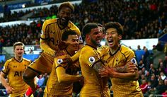 Spurs players celebrate after Son puts them 2-1 up away to Swansea. Match ended 3-1. 5/4/17
