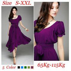 2015 summer style bohemia purple dress women solid chiffon square collar casual dresses plus size s xxl (115KG) 5 colors b302