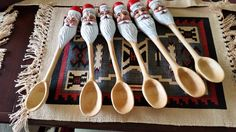 Santa Spoons Carved by Keith Miller. What a great idea for Christmas presents. These would look nice made from Maple.