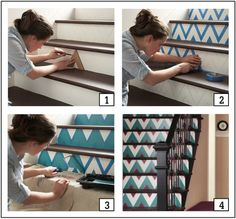 10 Tenacious Cool Tips: Interior Painting Modern Home Tours office interior painting chairs.Interior Painting Tips Brushes interior painting creative.Interior Painting Modern Home Tours. Stitch Fix Blog, Painting Hardware, Painted Stairs, Stenciled Stairs, Interior Paint Colors, Interior Painting, Gray Interior, Dark Interiors, Living Room Paint