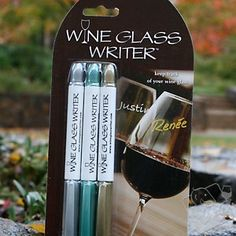 Wine Glass Writer Metallic Pens - no more wine charms, washes off with a sponge