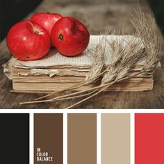 My living room colors. Warm sepia colors are diluted with the color of red apple. This fall this color solution should be in the wardrobe of every fashionable woman. Colour Pallette, Colour Schemes, Color Combos, Black Color Palette, Gold Palette, Sepia Color, Color Red, Color Balance, Balance Design