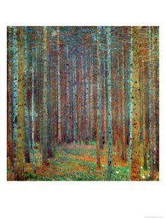 Tannenwald (Pine Forest), 1902 Giclee Print, by Gustav Klimt Gustav Klimt, Klimt Art, Art Nouveau, Pine Forest, Forest Art, Wow Art, Art Plastique, Tree Art, Oeuvre D'art