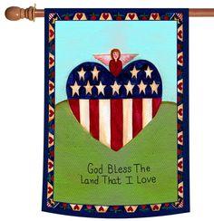 NEW Toland - Land That I Love - Patriotic Americana Angel Heart USA House Flag #TolandHomeGarden