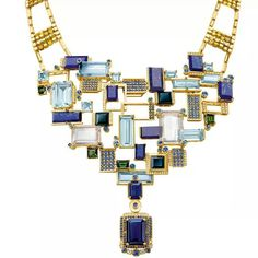Chow Tai Fook's Reflections of Siem Halcyon necklace, with emerald-cut aquamarines, lapis lazuli, tourmalines and blue sapphires mounted to resemble the floating villages on Lake Tonlé Sap, forms part of the Chinese jeweller's fourth annual collection of high jewellery. #jewelleryporn source: @The Jewellery Editor #mrsortonsinstaglam