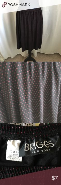 "Polka Dotted Skirt Good condition Skirt with elastic waist. Measures - about 30"" around before you stretch it & about 23"" long. Tiny pink dots all over. 90% nylon & 10% Spandex. Nonsmoking home Briggs Skirts Midi"