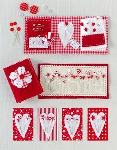 Carnet de couture en tissus et en feutre rouge et blanc avec épingles en pate fimo et étiquettes