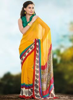 Dotted Printed Yellowish Mustard Georgette Saree