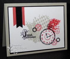 SU! Clockworks and Vintage Verses (sentiment) stamp sets in Sahara Sand, Riding Hood Red, Basic Black and Whisper White - Mary Brown