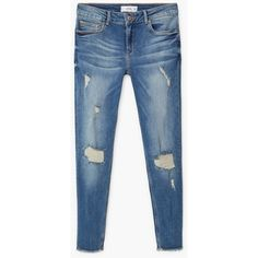 Crop Skinny Isa Jeans ($28) ❤ liked on Polyvore featuring jeans, pants, skinny jeans, blue jeans, distressed jeans, ripped denim jeans and ripped skinny jeans