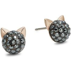 Karl Lagerfeld Crystal Choupette Cat Stud Earrings ($69) ❤ liked on Polyvore featuring jewelry, earrings, hematite, karl lagerfeld jewelry, karl lagerfeld, crystal jewelry, gold colored earrings and gold tone jewelry