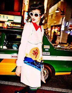 Vogue Japan July Tokyo Neon Girls Chiharu Okunugi, Risa Nakamura, Hiari Ikeda, Tiffani Cadillac Shunsuke Okabe by Ellen Von Unwerth Tokyo Fashion, Fashion Night, Fashion Shoot, Editorial Fashion, High Fashion, Vogue Editorial, Fashion Brand, Vogue Japan, Vogue Russia