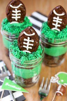 Football party brownies in mason jars. Football party ideas. Football party dessert ideas. Brownies in mason jars. Desserts in mason jars. Super bowl party ideas.