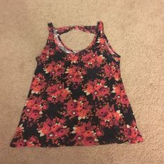 Floral tank Black floral tank. Cotton material Charlotte Russe Tops Tank Tops
