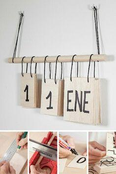 Top 15 DIY Manualidades - Perpetual calendar in wood and DIY decorative cord - Diy Tumblr, Diy Crafts To Do, Home Crafts, Easy Crafts, Wooden Calendar, Diy Calendar, Diy Y Manualidades, Ideias Diy, Paper Gifts