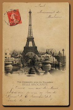 A postcard showing a view of the Trocadero in Paris, featuring the Eiffel Tower and surrounding structures.