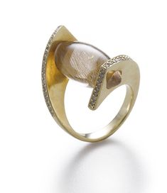 Ring - sowonjoo studio ~ The primary stone is Rutilated Quratz With diamonds, a unique pinkie ring ~