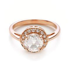 round rose gold rose cut diamond ring