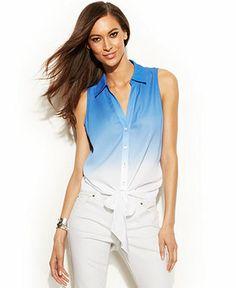 INC International Concepts Sleeveless Tie-Hem Button-Front Shirt - INC International Concepts - Women - Macy's