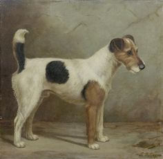 """""""A Fox Terrier"""" by E. S. England, British painter, late 19th/early 20th century"""
