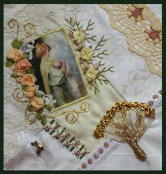 I  ❤ crazy quilting, beading & ribbon embroidery . . . Victorian Ladies Round Robin - My work on Cathy's block ~By Stitching Like Crazy