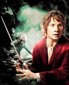 Bilbo Baggins and Gollum The Hobbit Movies, O Hobbit, Rr Tolkien, Tolkien Books, Thranduil, Legolas, Concerning Hobbits, Desolation Of Smaug, Lord