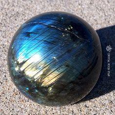 Labradorite Sphere - Flashy Blue and Gold Schiller by CrystalRockStar.etsy.com #crystalhealing #crystalrockstar
