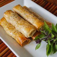 I've had an abundance of Thai basil in my garden this year and these Thai Basil Chicken Phyllo Rolls were a great way to put the basil to use. Chicken is combined with garlic, ginger, lemongrass, b. Asian Recipes, Healthy Recipes, Ethnic Recipes, Healthy Foods, Healthy Breakfasts, Eating Healthy, Clean Eating, Healthy Appetizers, Appetizer Recipes